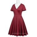 Hanna Nikole rojo oscuro manga corta cuello en V más vestido de dama de honor Swing verano HN0017-1