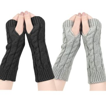 YONHEE Women Arm Gloves Fingerless Strickhandschuhe