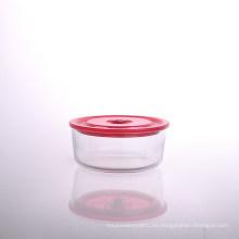 Tazón de vidrio redondo borosilicato con tapa