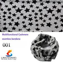 Custom Multifuncional estrela bandana tubo cachecol, cashmere headwear