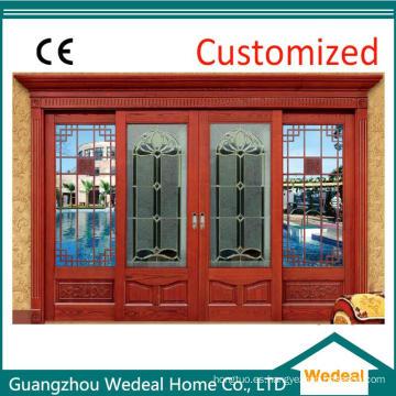 Puerta de entrada frontal de vidrio macizo de madera para Villa