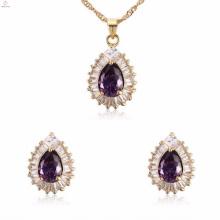 China Wholesale Luz Roxo Mulheres Cz Brinco De Cristal Conjuntos De Jóias Em Aço Inoxidável