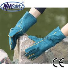 Luvas de trabalho de couro NMSAFETY / luvas de solda de couro de divisão de vaca / luvas de segurança de couro de divisão de vaca