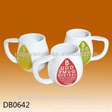 Copo branco personalizado da porcelana do logotipo 250cc, caneca de café cerâmica