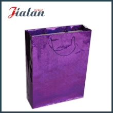Custom Made Purple Color Holographic Shopping Carrier Gift Paper Bag