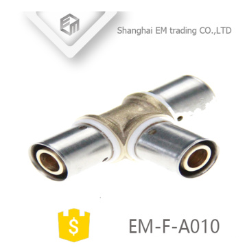 EM-F-A010 latão reduzindo tee compressão de compressão conexão do encaixe de tubulação