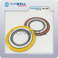 Junta espiral de la herida con los anillos internos y externos