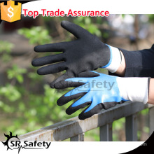 SRSAFETY 13g white nylon two times dip nitrile gloves sandy finish work gloves new style