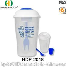 Reutilizable BPA taza de ensalada plástico libre con aderezo de copa y tenedor (HDP-2018)