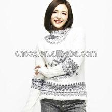 12STC0541 Schneeflocke Muster Womens Weihnachten Pullover