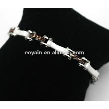 316L acero inoxidable blanco café de cerámica negro plateado brazalete de enlace de cadena