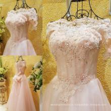 Imagem real Rosa Elegante Off The Shoulder Long Evening Dress Lace Applique Beaded Bow Sash Sexy A-Line Robes De Soiree ML181
