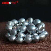 Venta al por mayor gran gris barroco collar de perlas de agua dulce (e130129)