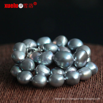 Оптовые большие серые барокко пресной воды Жемчужное ожерелье (E130129)