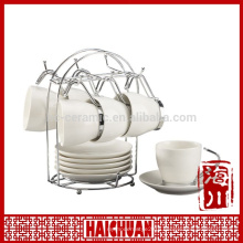 HCC coffee cup and saucer set with rack, ceramic tea cup and saucer holder