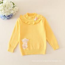 Venda quente do bebê meninas camisola Assentamento camisola gola de renda para bebés