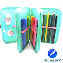 2015 Hot Sale Zip Pencil Case Stationery Set, Estuche de lápices de tercer nivel, School Stationery Set