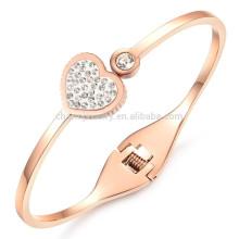 2015 nueva joyería de oro rosa embutida zircon joyas de la señora amor pulsera de acero de titanio GH724