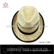 Hot sale straw fedora hat natural color hollow straw hats for promotion