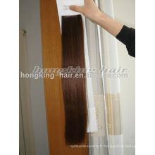 Extensions de cheveux clip-in marron foncé 100% cheveux humains