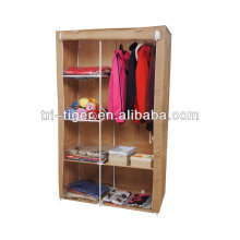 Guarda-roupa portátil do armário do vestuário Guarda-roupa da cremalheira de pano do organizador da porta dobro