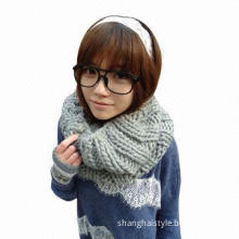 Knitted winter women's neck warmer, fashionable tube snood style, made of acrylic Iceland yarn