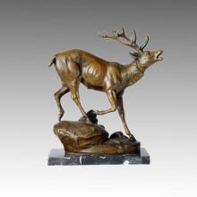 Escultura De Bronce De Animales Roaring Deer Decor Estatua De Latón Tpal-123