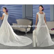 WD0155 scoop encolure encolure en manche en dentelle perlée cristaux brillants appliqués sur robes de mariée à buste complet avec de longs trains