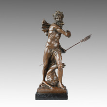 Statue mythologique Dieu mer Poseidon Bronze Sculpture TPE-821
