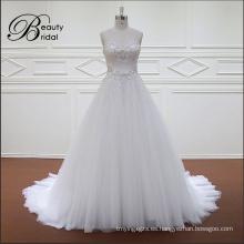 2016 vestido sin mangas una línea cristal rebordear vestido de boda nupcial