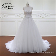2016 Sweetheart Sleeveless A Line Crystal Beading Bridal Wedding Dress