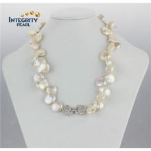 14-16mm Collier de perles en forme de monnaie naturelle en eau douce