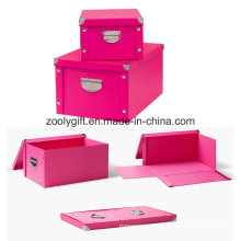 Durable Snap Foldable Paper Storage Box with Button and Handle