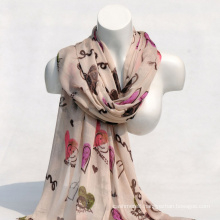 Women′s Viscose Heart Love Printing Spring Autumn Summer Woven Beach Cover Shawl Scarf (SW125)