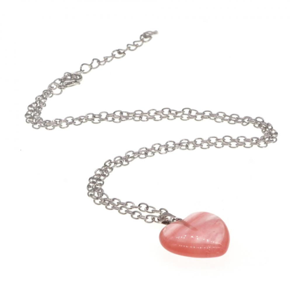 Cherry Quartz Heart Beads Pendant Women Necklace