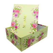 High Quality Luxury Cardboard Custom Packaging Shoe Box Customized Printed Foldable Shoe Paper Box Stackable
