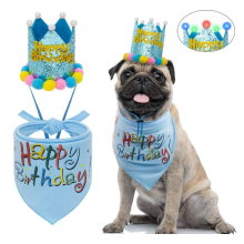 Dog Birthday Bandana with LED Hat
