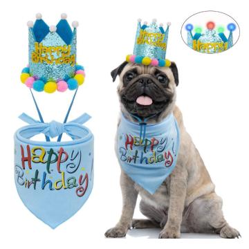 Dog Birthday Bandana with LED Hat