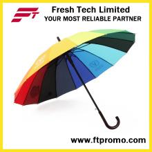 Paraguas recto abierto auto del regalo de la compañía del OEM
