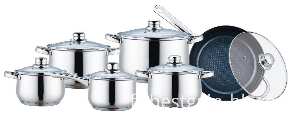 12 Pieces Cooking Pots with Frypan