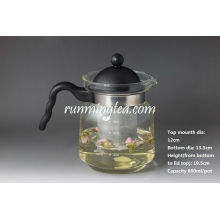 Straight Glass Teetopf mit Edelstahl-Siebeinsatz, 800ml / Topf (Borosilikat mit PV-Griff)