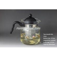 Bote de té de vidrio recto con inserto de pantalla de acero inoxidable, 800ml / pote (borosilicato con mango PV)
