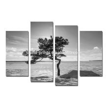Arte preto e branco da pintura da lona da árvore / arte da parede da lona da paisagem natural