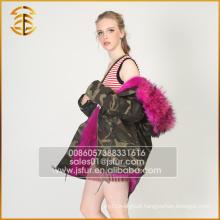 2017 New Design Women Real Jacket Hooded Winter Fur Parka