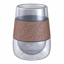 Tasse à café en verre double paroi de 350 ml avec poignée en silicone, forme mignonne, vente chaude
