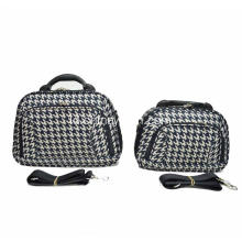 Houndstooth EVA Cosmetic Bag dengan Handle Plastik