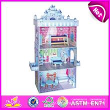 2014 mode nouveau jouet en bois de maison de poupée, jouets éducatifs pour enfants de maison de poupée, vente chaude 3D en bois bébé maison de poupée jouet usine W06A079