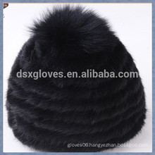 Black Mink Fur Cap With One Solid Spheres