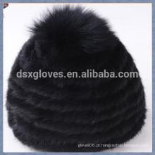 Black Mink Fur Cap com uma sólida esferas
