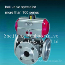 Flange atuador pneumático Válvula de esfera de 3 vias